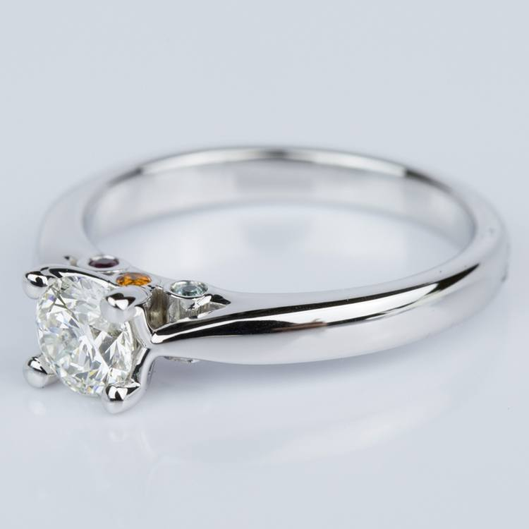 Custom Diamond Engagement Ring with Gemstone Accents angle 2
