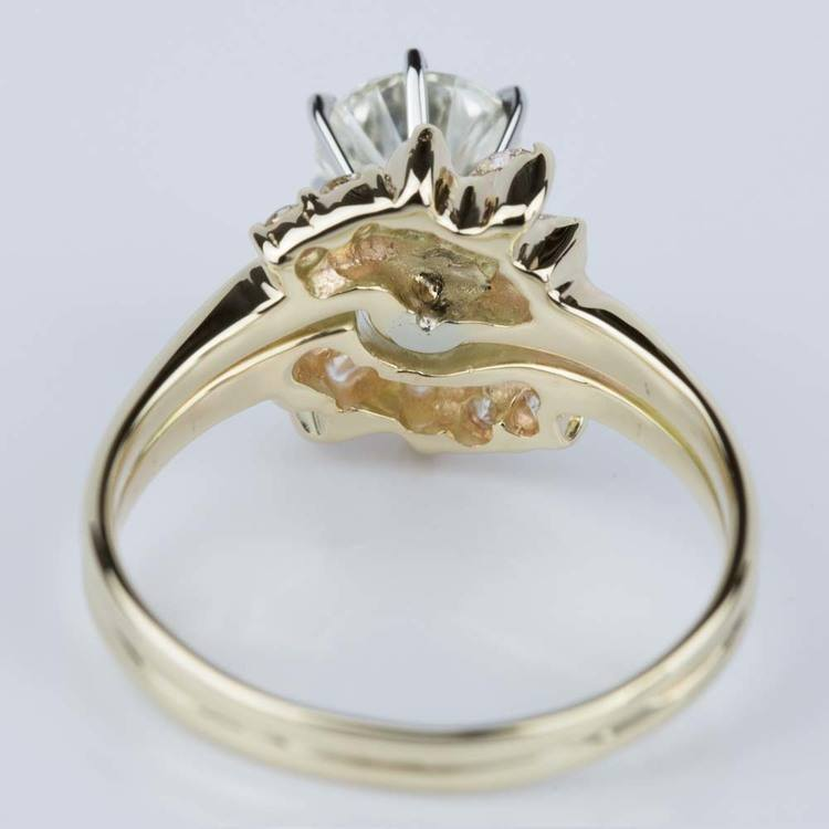 Custom Diamond Floral Engagement Ring in Yellow Gold (1.20 ct.) angle 4