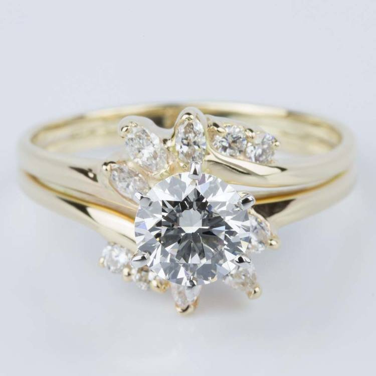 Custom Diamond Floral Engagement Ring in Yellow Gold (1.20 ct.)