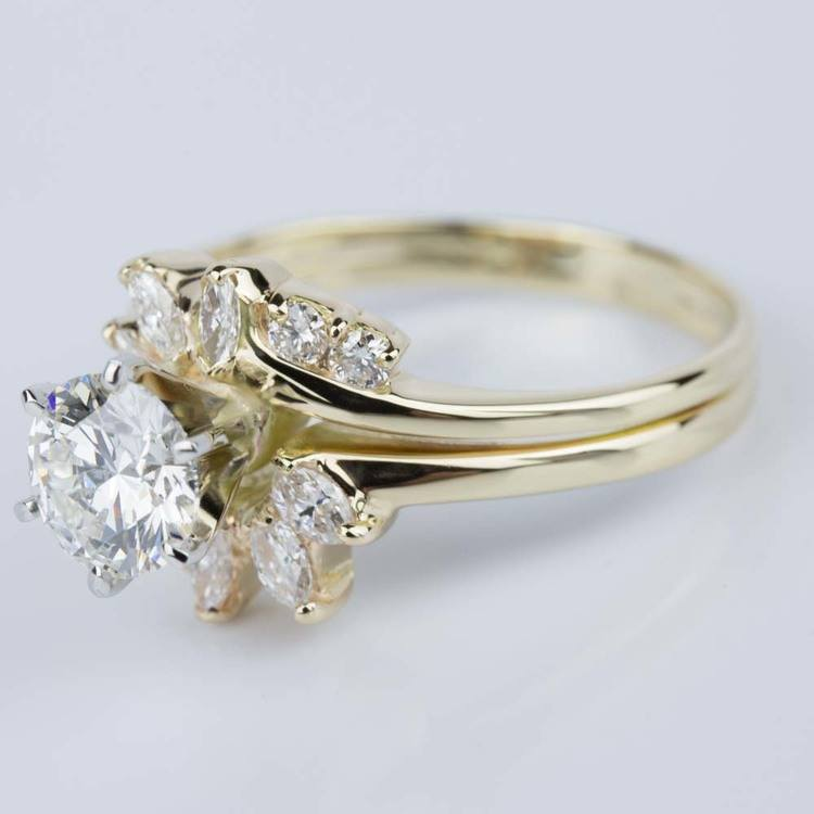 Custom Diamond Floral Engagement Ring in Yellow Gold (1.20 ct.) angle 2