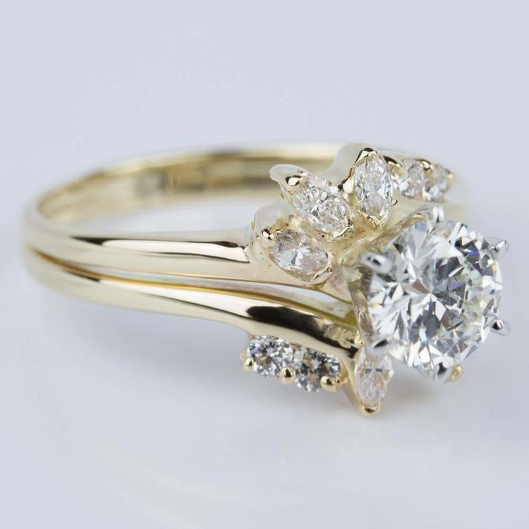 Custom Diamond Floral Engagement Ring in Yellow Gold (1.20 ct.) angle 3