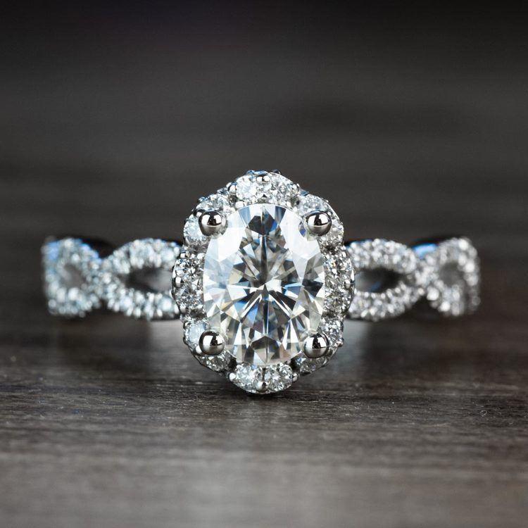 Custom Diamond Halo Twisted Ring & Moissanite Gemstone