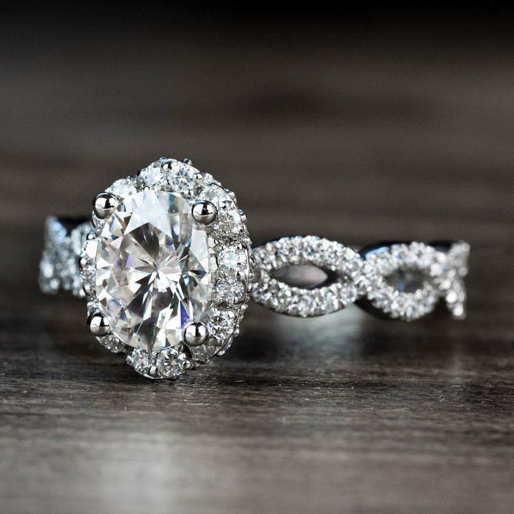 Custom Diamond Halo Twisted Ring & Moissanite Gemstone angle 2