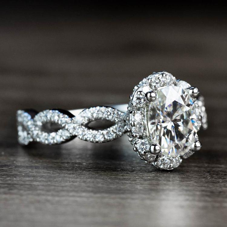 Custom Diamond Halo Twisted Ring & Moissanite Gemstone angle 3