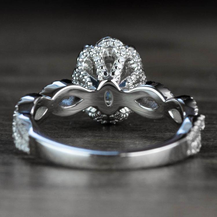 Custom Diamond Halo Twisted Ring & Moissanite Gemstone angle 4