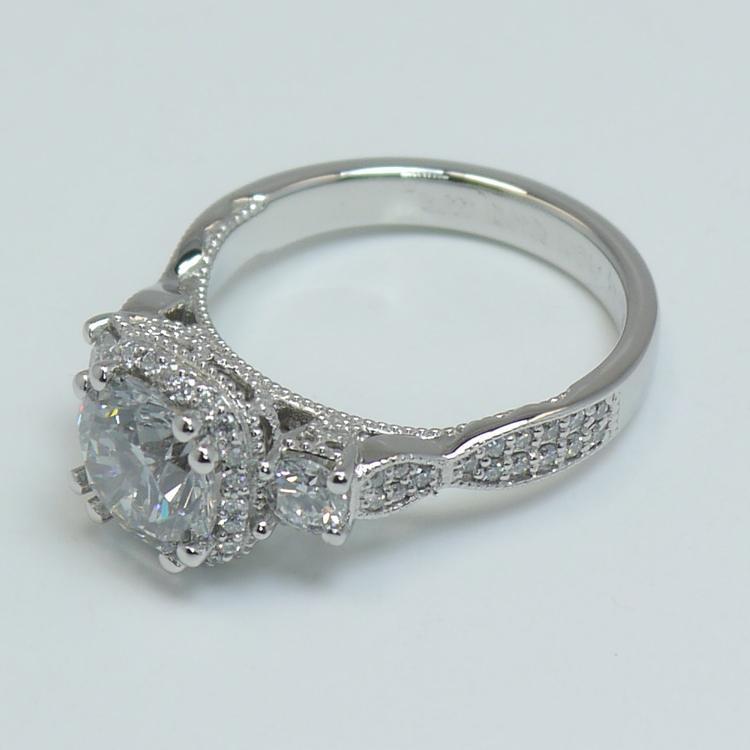 Custom Vintage 1.5 Round Diamond Engagement Ring angle 4