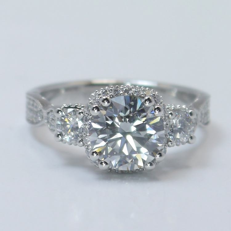 Custom Vintage 1.5 Round Diamond Engagement Ring