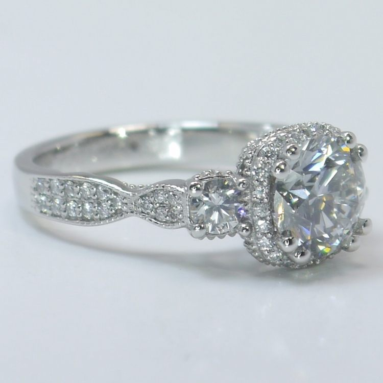 Custom Vintage 1.5 Round Diamond Engagement Ring angle 3