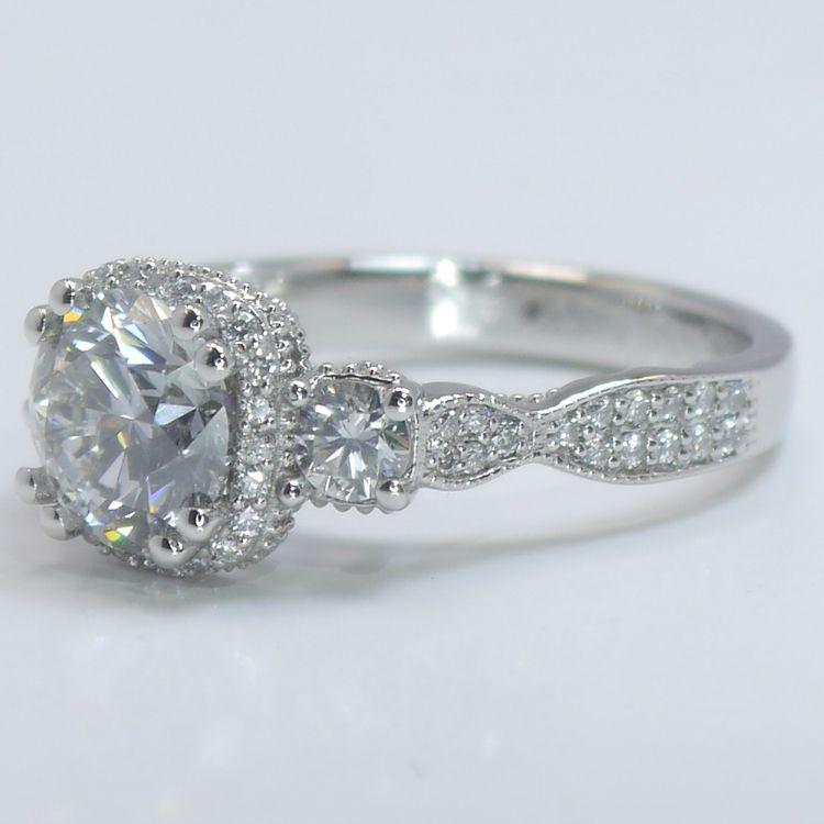 Custom Vintage 1.5 Round Diamond Engagement Ring angle 2