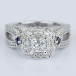 Custom Diamond and Sapphire Princess Halo Engagement Ring (0.62 ct.) - small