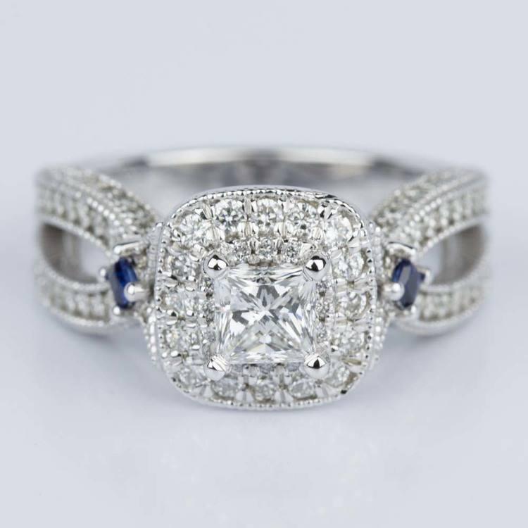 custom and sapphire princess halo engagement ring