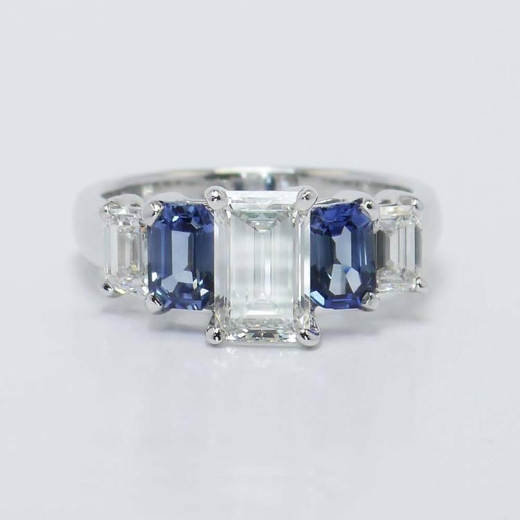 Emerald Diamond & Sapphire Custom Engagement Ring (1.50 Carat)