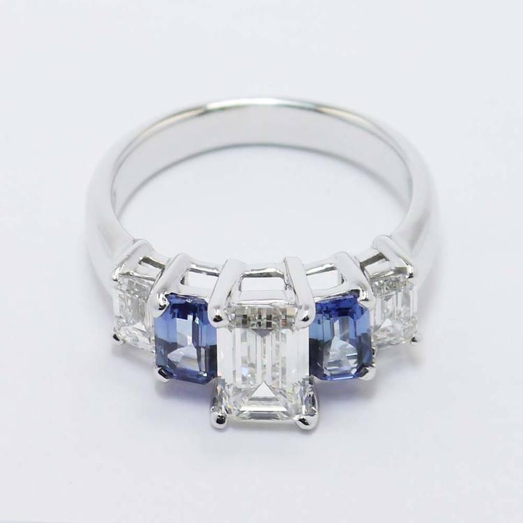 Emerald Diamond & Sapphire Custom Engagement Ring (1.50 Carat) angle 2