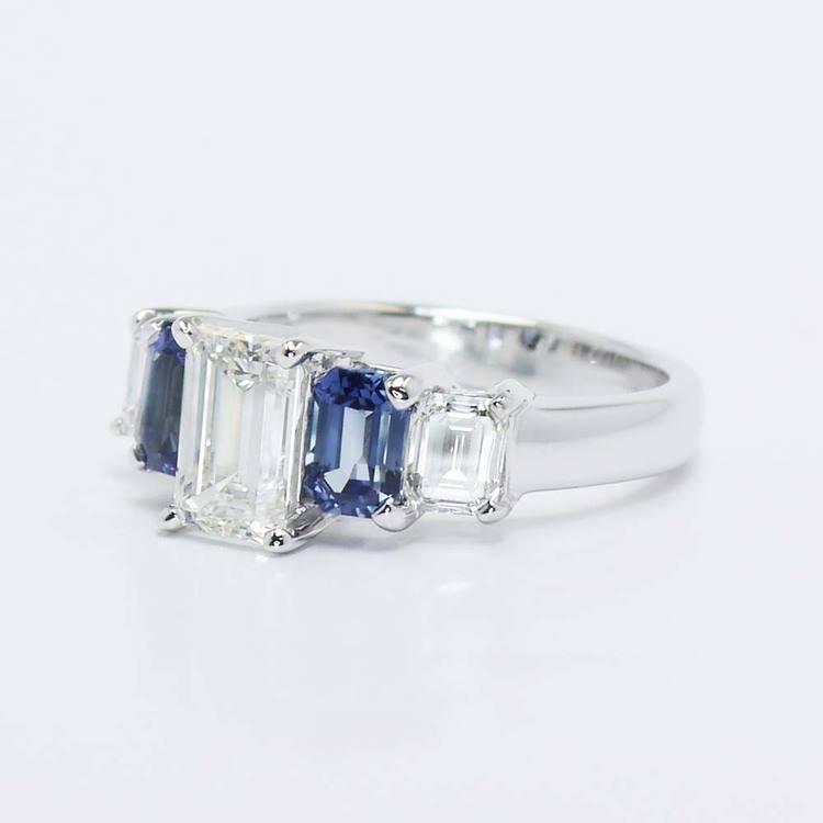 Emerald Diamond & Sapphire Custom Engagement Ring (1.50 Carat) angle 3