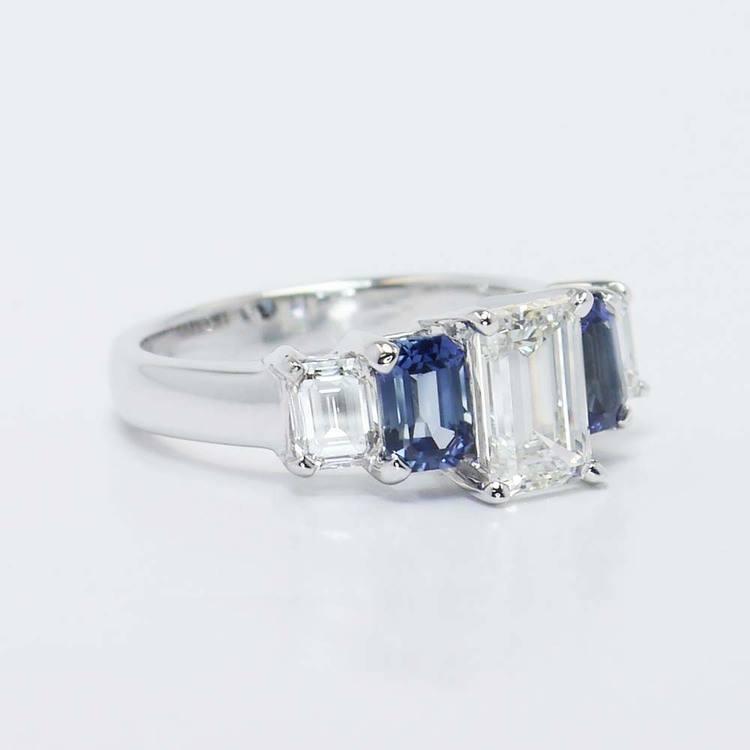 Emerald Diamond & Sapphire Custom Engagement Ring (1.50 Carat) angle 4