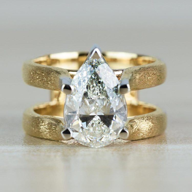 Custom Double Band with Texture Finish Pear Shaped Diamond Ring