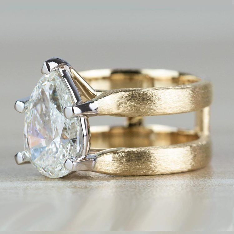 Custom Double Band with Texture Finish Pear Shaped Diamond Ring angle 2