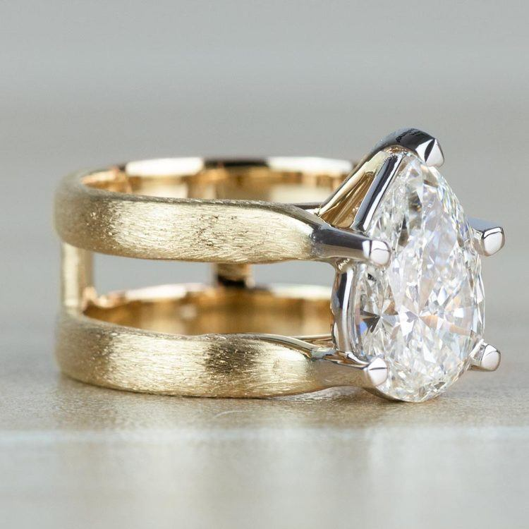 Custom Double Band with Texture Finish Pear Shaped Diamond Ring angle 3