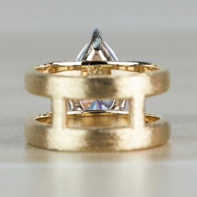 Custom Double Band with Texture Finish Pear Shaped Diamond Ring angle 4