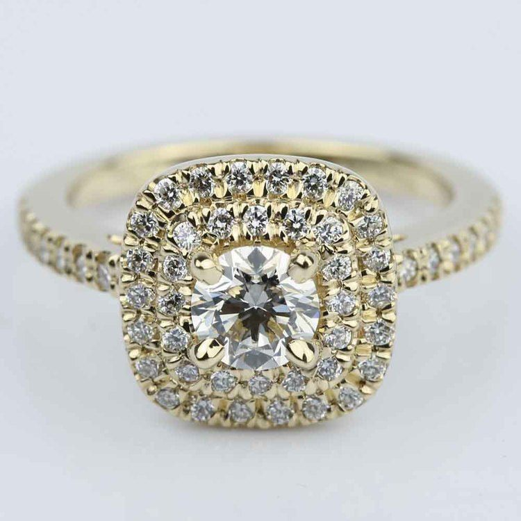Custom Double Halo Diamond Engagement Ring (0.29 ct.)