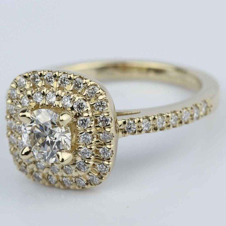 Custom Double Halo Diamond Engagement Ring (0.29 ct.)  angle 2