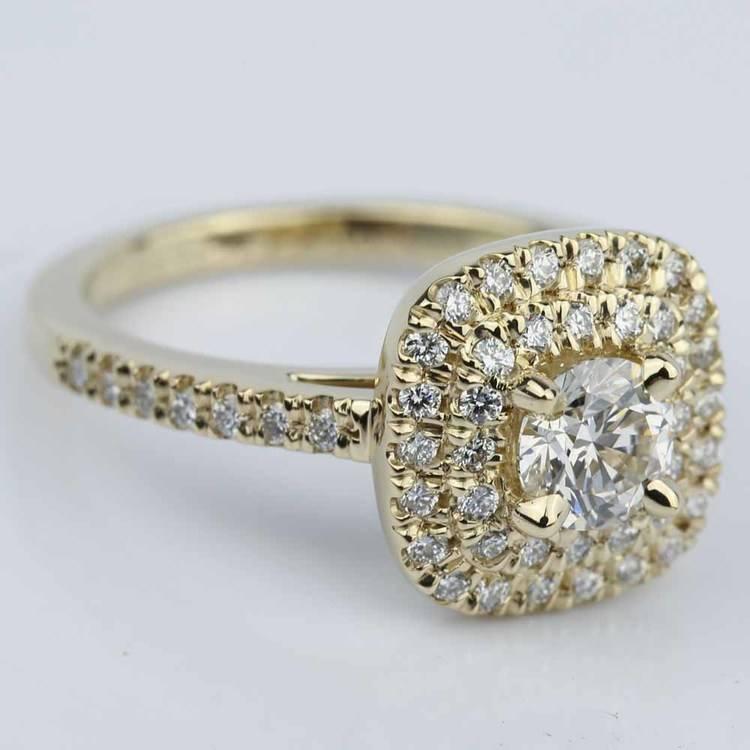 Custom Double Halo Diamond Engagement Ring (0.29 ct.)  angle 3