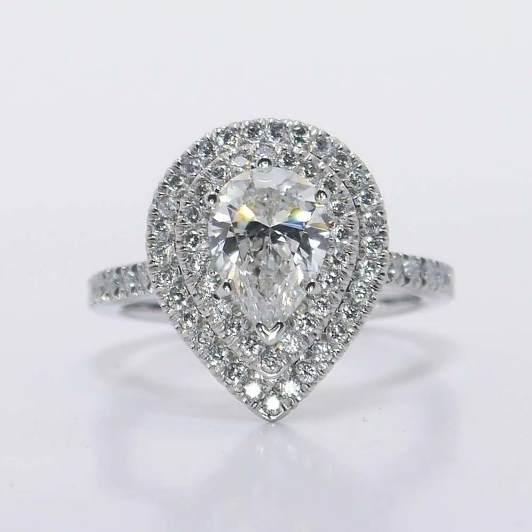 Custom Pear Double Halo Diamond Engagement Ring (1 Carat)
