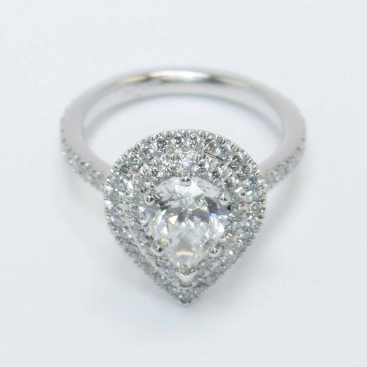 Custom Pear Double Halo Diamond Engagement Ring (1 Carat) angle 2