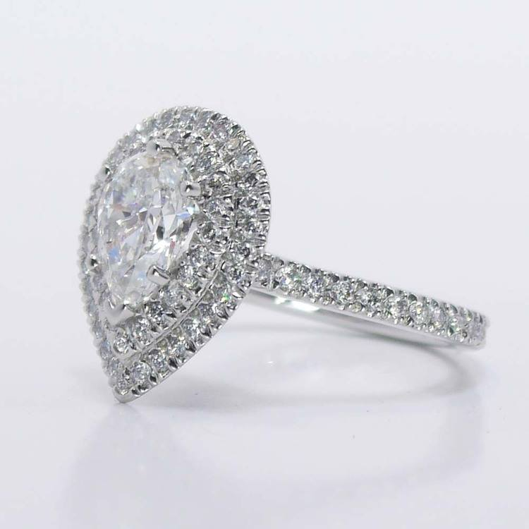 Custom Pear Double Halo Diamond Engagement Ring (1 Carat) angle 3