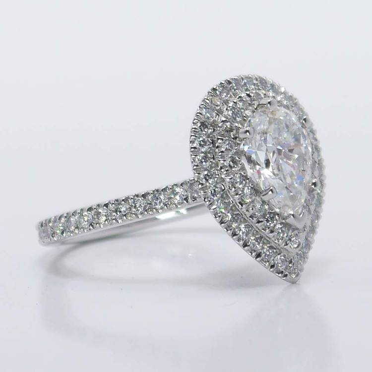 Custom Pear Double Halo Diamond Engagement Ring (1 Carat) angle 4