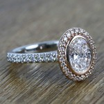 Custom Dual Tone Flawless 1 Carat Oval Diamond Halo Engagement Ring - small angle 3