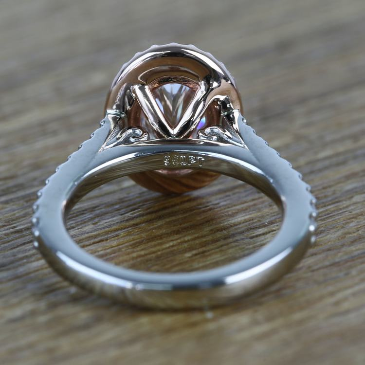 Custom Dual Tone Flawless 1 Carat Oval Diamond Halo Engagement Ring angle 4