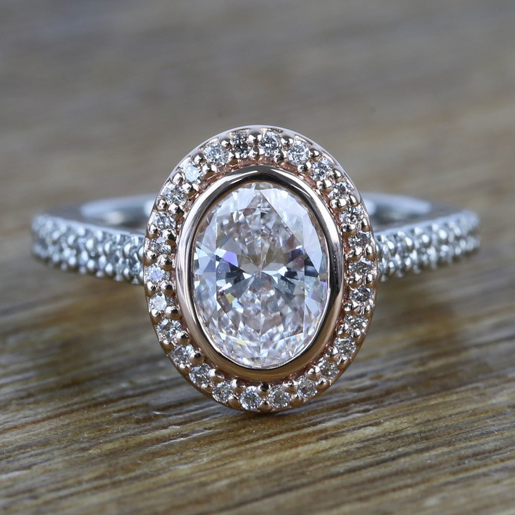 Custom Dual Tone Flawless 1 Carat Oval Diamond Halo Engagement Ring