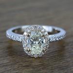 Custom Dual Tone Floating Halo Oval Diamond Engagement Ring (1.32 Carat) - small