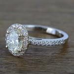 Custom Dual Tone Floating Halo Oval Diamond Engagement Ring (1.32 Carat) - small angle 2