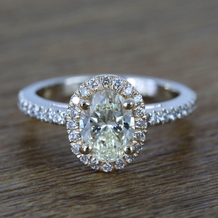 Custom Dual Tone Floating Halo Oval Diamond Engagement Ring (1.32 Carat)
