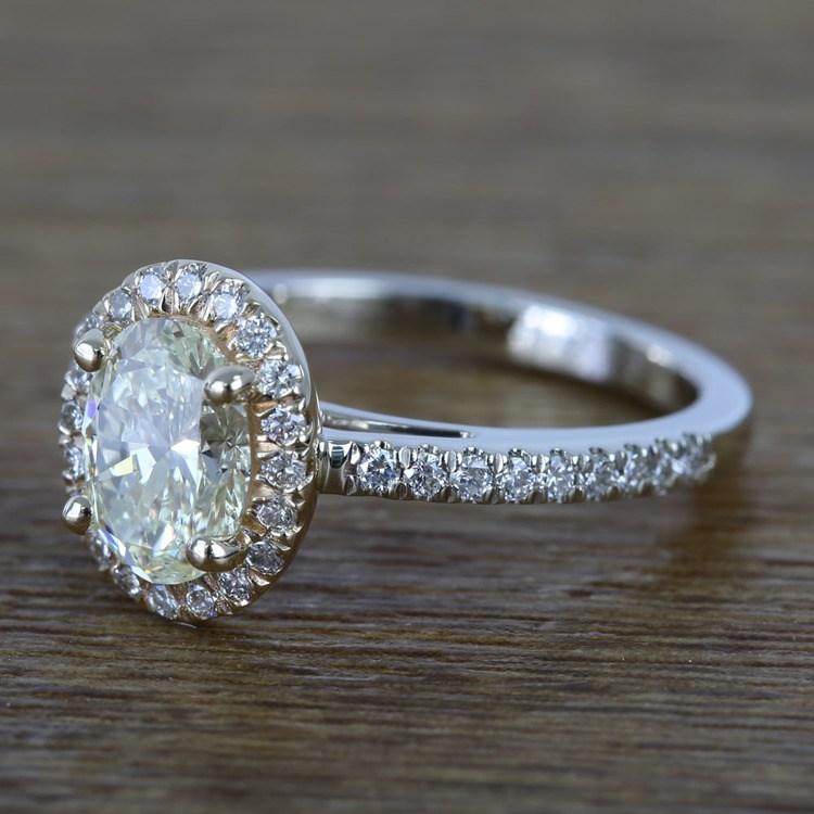 Custom Dual Tone Floating Halo Oval Diamond Engagement Ring (1.32 Carat) angle 2