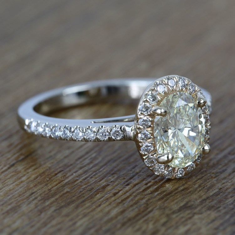 Custom Dual Tone Floating Halo Oval Diamond Engagement Ring (1.32 Carat) angle 3