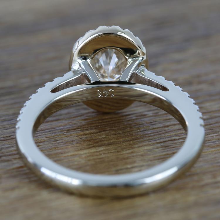 Custom Dual Tone Floating Halo Oval Diamond Engagement Ring (1.32 Carat) angle 4