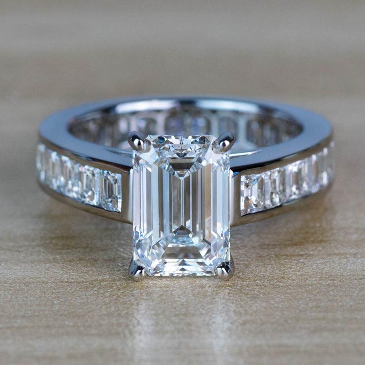 Custom Emerald Diamond Engagement Ring in Platinum
