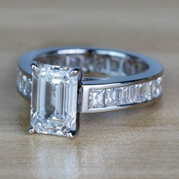 Custom Emerald Diamond Engagement Ring in Platinum angle 2