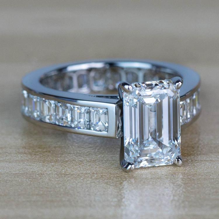 Custom Emerald Diamond Engagement Ring in Platinum angle 3
