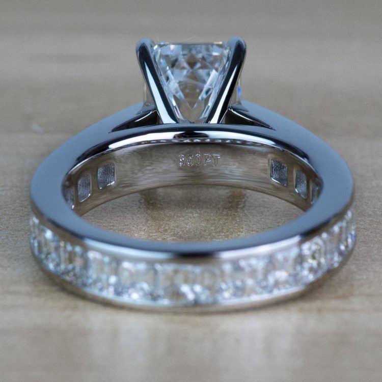 Custom Emerald Diamond Engagement Ring in Platinum angle 4