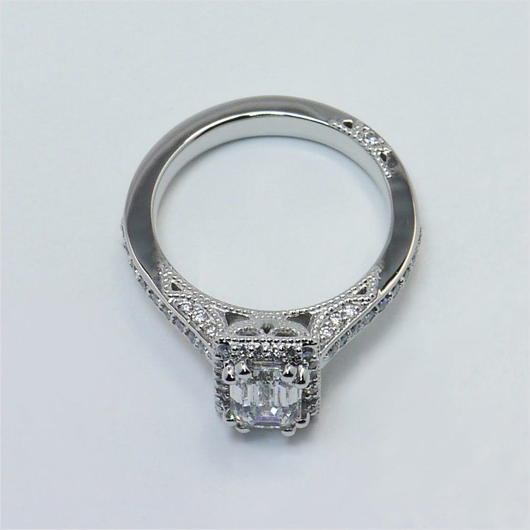 Custom 1 Carat Pave Halo Emerald Diamond Engagement Ring angle 4