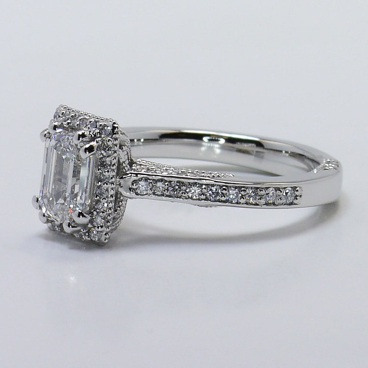 Custom 1 Carat Pave Halo Emerald Diamond Engagement Ring angle 2