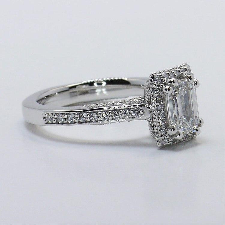 Custom 1 Carat Pave Halo Emerald Diamond Engagement Ring angle 3