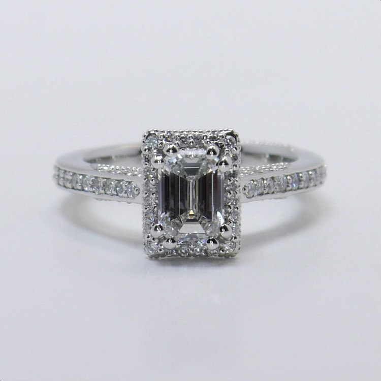 Custom 1 Carat Pave Halo Emerald Diamond Engagement Ring