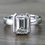 Custom Emerald Half Bezel Diamond Engagement Ring (3 Carat) - small
