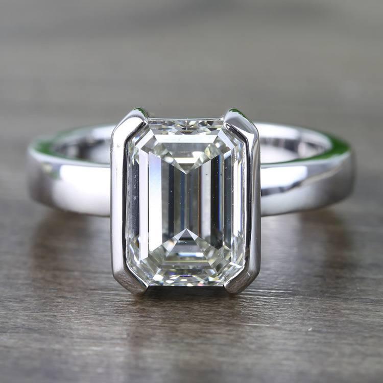 Custom Emerald Half Bezel Diamond Engagement Ring (3 Carat)