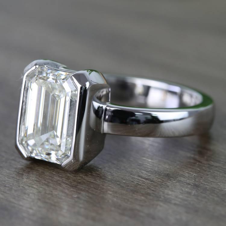 Custom Emerald Half Bezel Diamond Engagement Ring (3 Carat) angle 2
